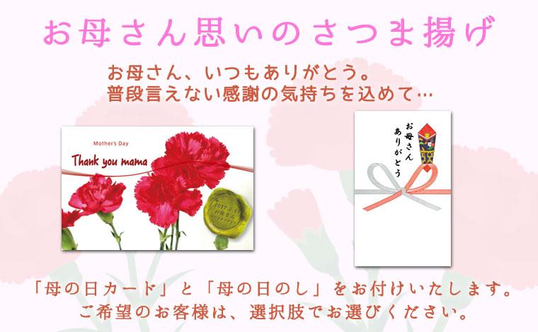 「母の日カード」と「母の日のし」をお付けいたします。ご希望のお客様は、選択肢でお選びください。